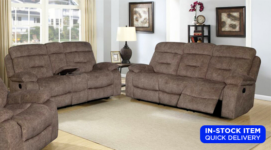 Living Room Sets : Cano Reclining Sofa & Loveseat Set in Tan