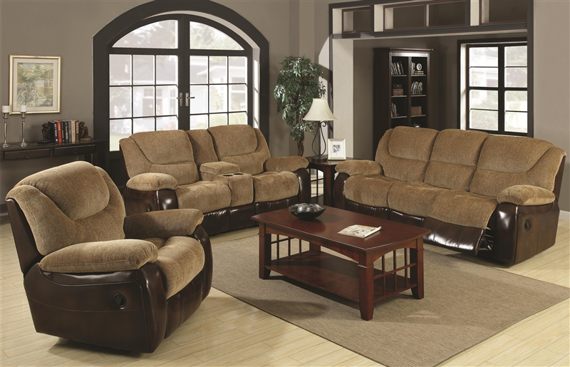 Malena 2 Piece Reclining Sofa Loveseat Set in Two Tone Upholstery
