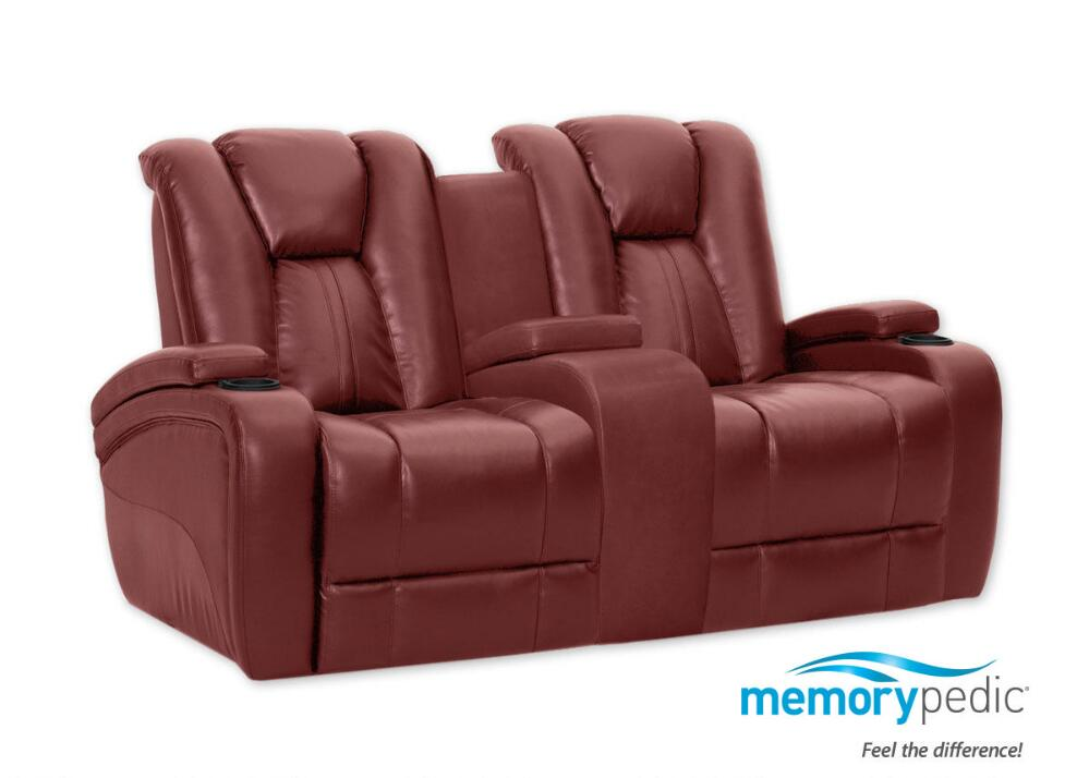 Matrix Red Power Reclining Loveseat w/Power Headrest - The RoomPlace
