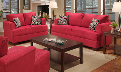 FireMark Distributors - B2056S SUEDE RED SOFA AND LOVESEAT