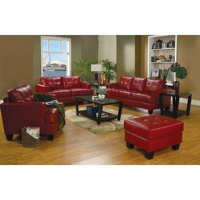Amazon.com: Coaster Samuel Red Sofa Loveseat Chair Leather Living