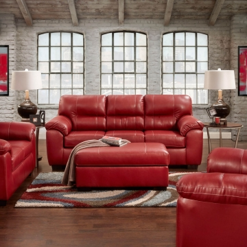 Austin Red Sofa and Loveseat | Leather Living Room Sets