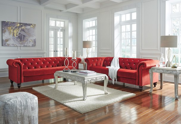 Red Sofa Chaise & Loveseat