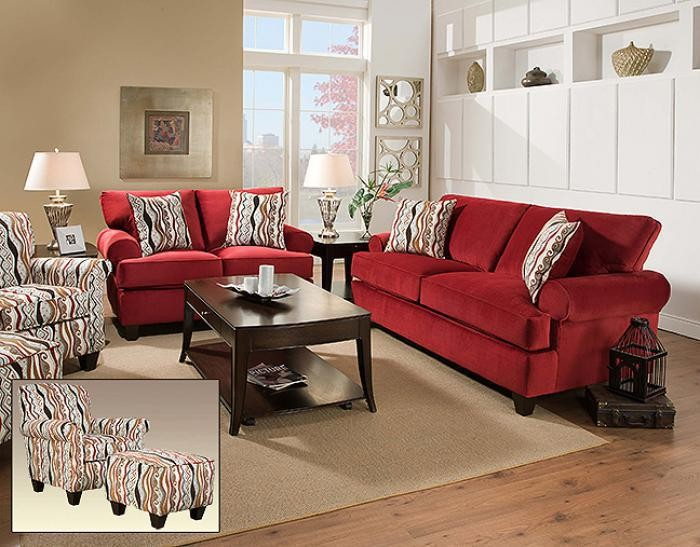 Jackpot Red Sofa and Loveseat | 47 RED | Living Room Sets | National