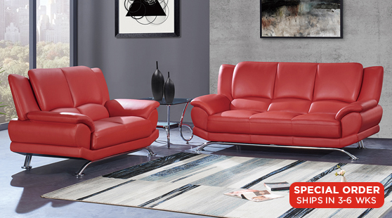 Living Rooms : Ciera Red Sofa & Loveseat Set
