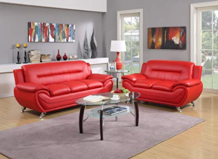Amazon.com: GTU Furniture Contemporary Bonded Leather Sofa