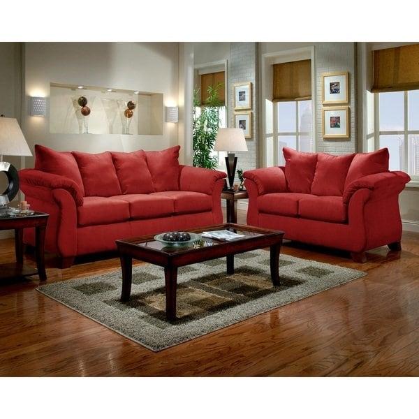 Shop Sensations Microfiber Pillow Back Sofa and Loveseat Set, Red