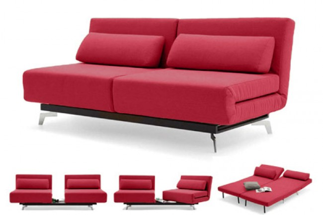 Red Modern Sleeper Sofa | Apollo Red Futon Couch | The Futon Shop