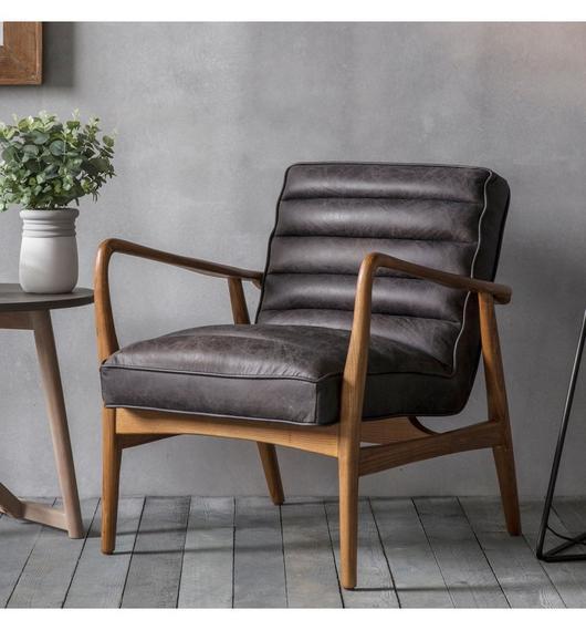 Datsun Retro Armchair in Antique Black Ebony Leatheru2013 Around The
