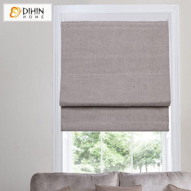 DIHIN HOME Cotton/Linen Blackout Curtain Roman Blinds Curtain For