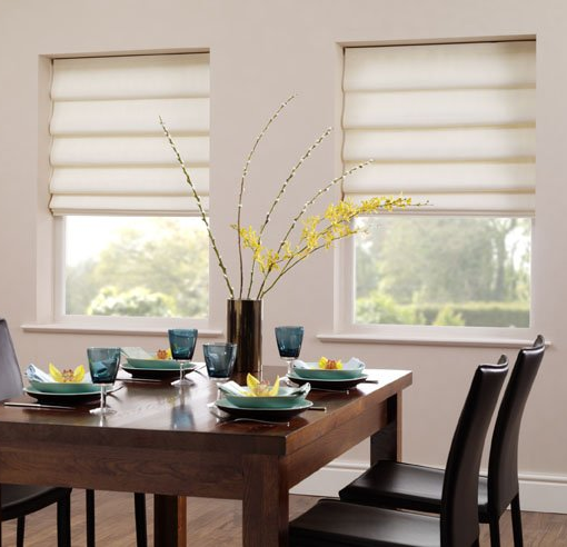 Vale White and Cream Roman Blind - Vale Blinds