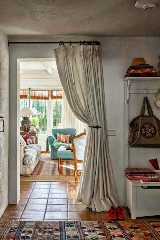 curtains as elegant room divider for small home design. tricks