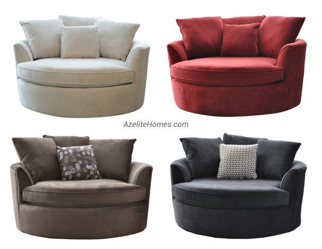 Modern Upholstered Microfiber Fabric Round Swivel Loveseat Chair
