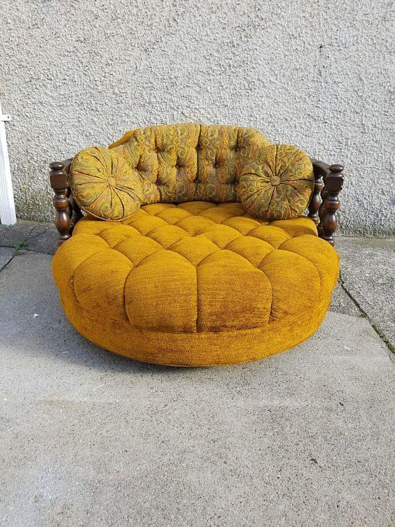 Vintage Mid Century Round Loveseat / Chair - Orange / Yellow Velvet