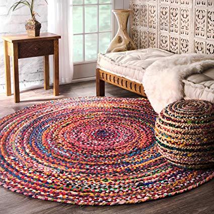 Amazon.com: Casual Handmade Braided Cotton Multi Round Area Rugs, 6
