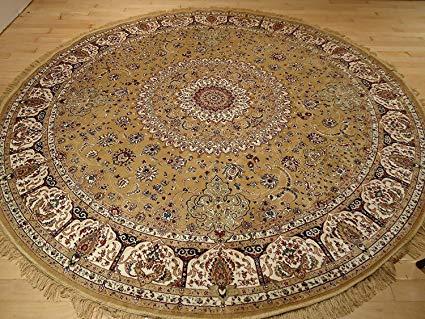 Amazon.com: Persian Silk Gold Round Rug 6x6 Circle Shape Rugs Floor