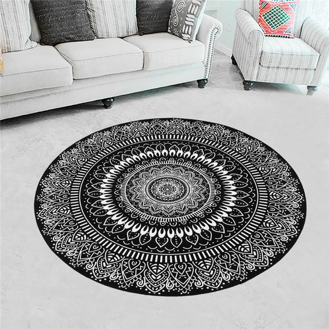 Round Rugs Nordic Gray Serie Carpets Living Room Computer Chair Area