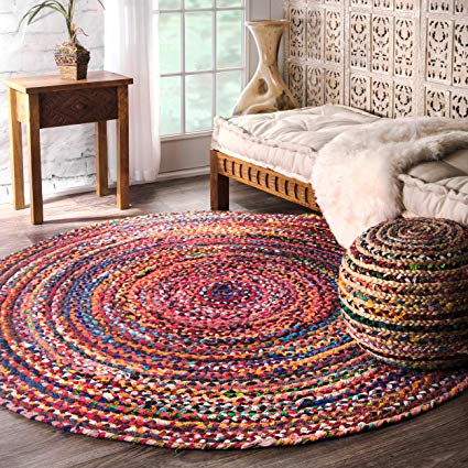 Amazon.com: Casual Handmade Braided Cotton Multi Round Area Rugs, 6