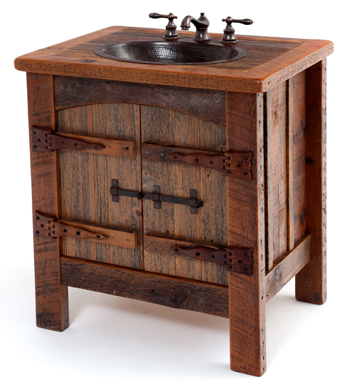 Reclaimed Wood Vanity | Rustic Bath Cabinetry | Log Cabin Vanities