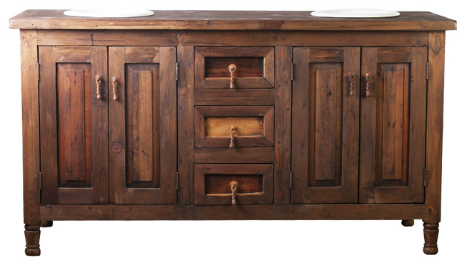 Double Sink Rustic Barnwood Vanity 92829 - Rustic - Bathroom
