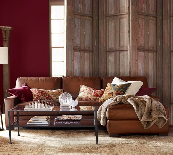 Turner Square Arm Leather Sofa With Chaise Sectional | Pottery Barn