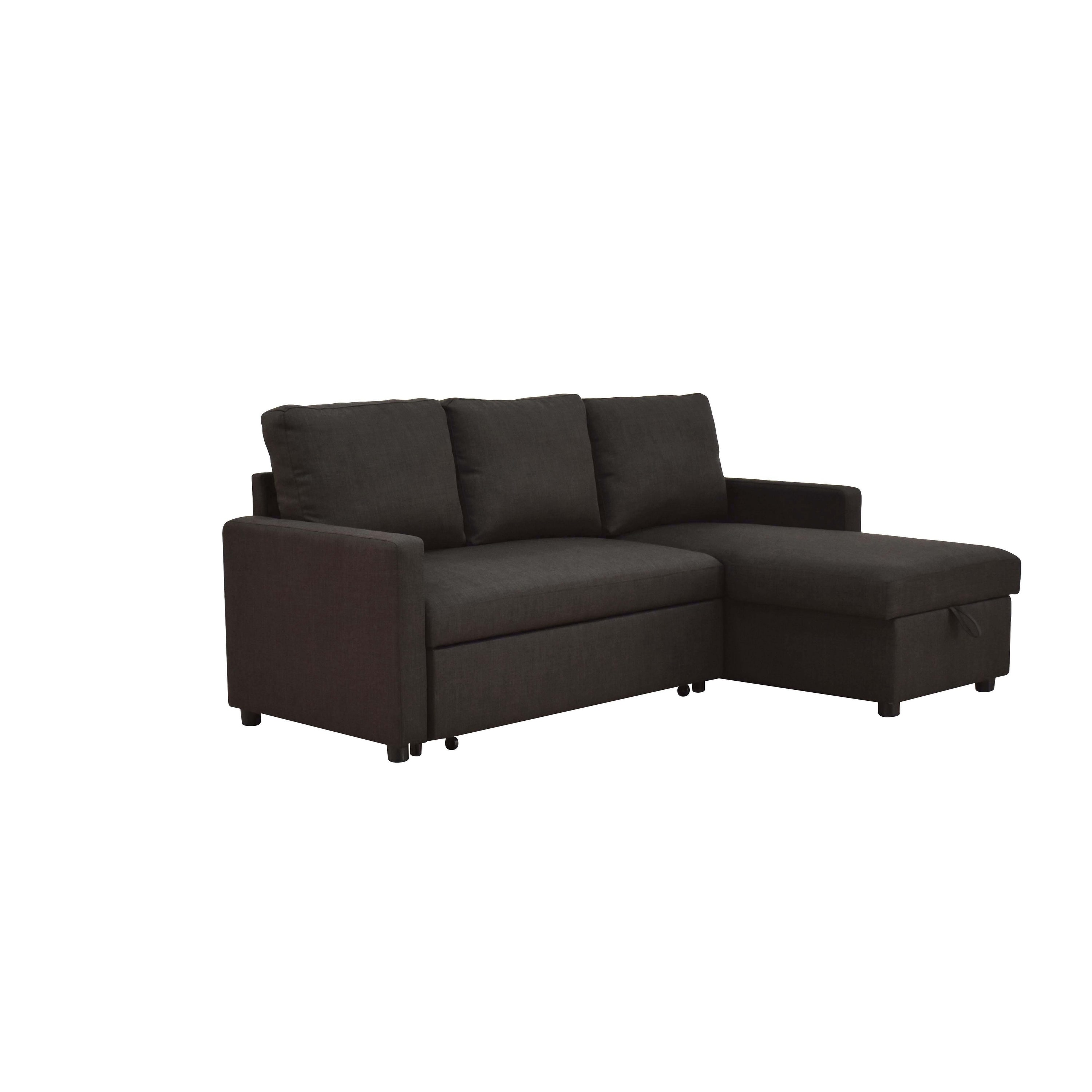 ACME Hiltons Sectional Sleeper Sofa in Charcoal Linen - Walmart.com