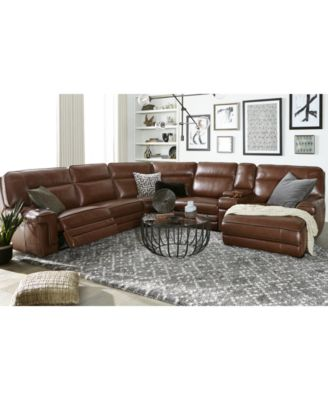 Furniture Myars 6-Pc. Leather Chaise Sectional Sofa With 2 Power