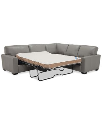 Furniture Ennia 2-Pc. Leather Full Sleeper Sectional Sofa, Created