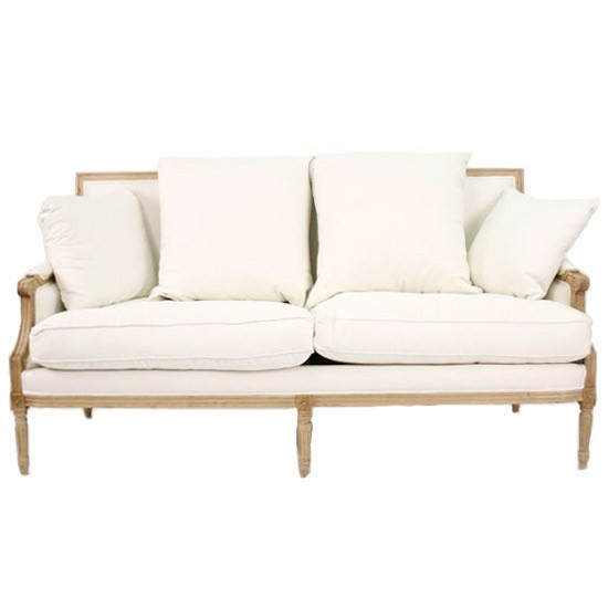 Louis Classic Down Settee Sofa in Cream and Linen