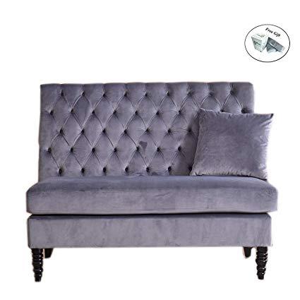 Amazon.com: Velvet Modern Tufted Settee Bench Bedroom Sofa High Back