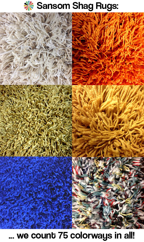 75 colors of shag rugs and carpets from Sansom Shag Rugs - oh so