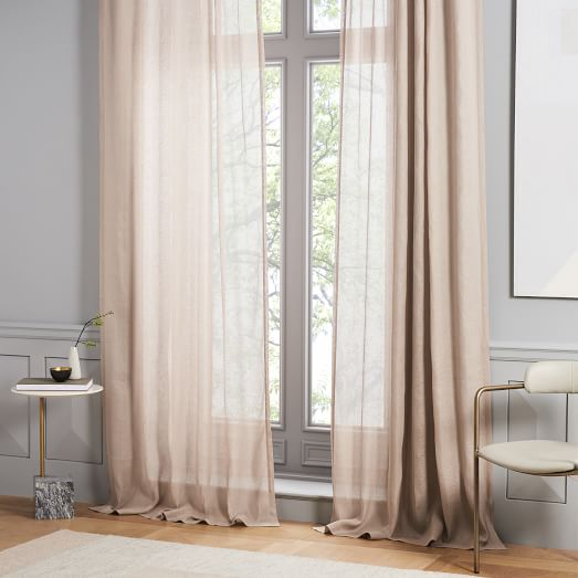 Sheer Belgian Flax Linen Curtain - Dusty Blush   west elm
