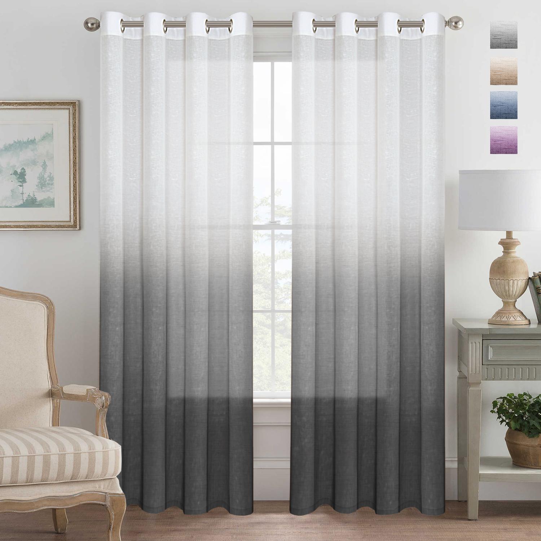 Grey Curtains Natural Linen Mixed Semi Sheer Curtains 96 Inches Long
