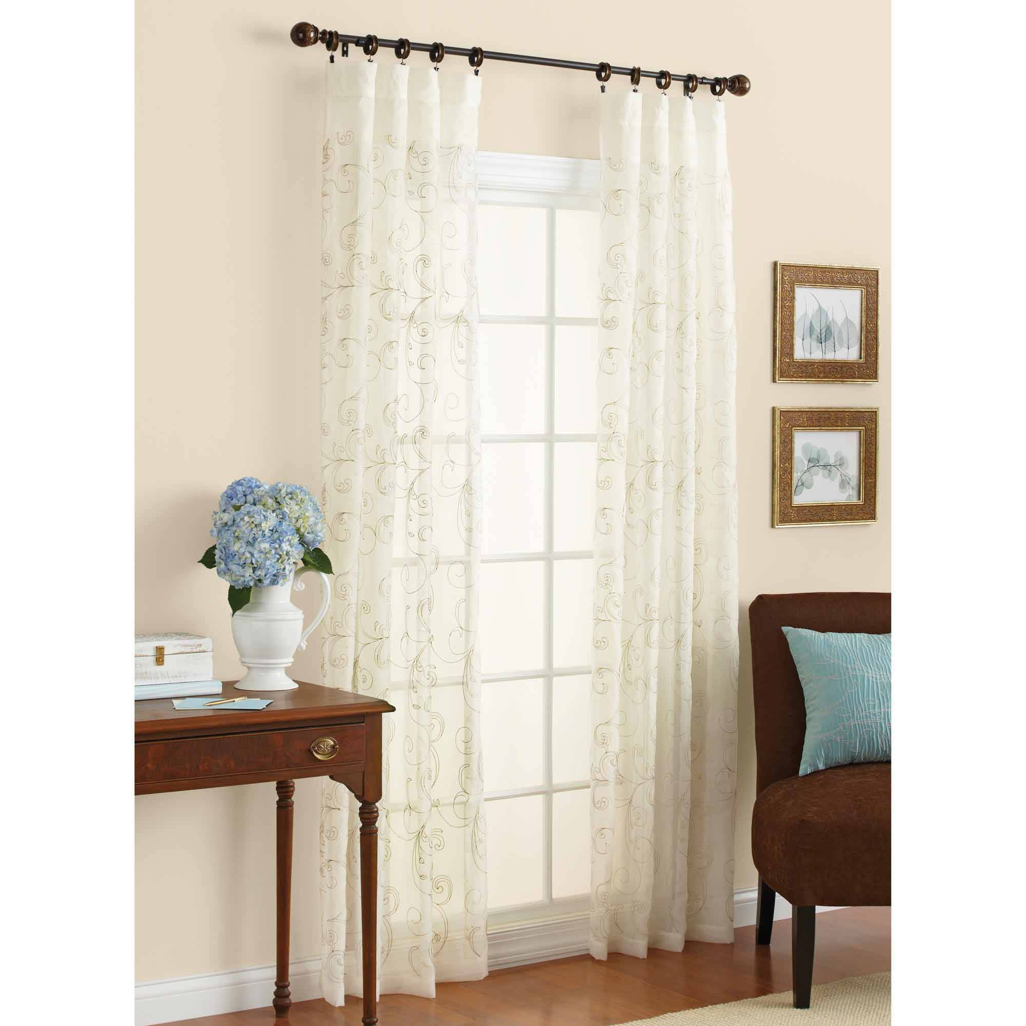 Better Homes & Gardens Embroidered Sheer Curtain Panel - Walmart.com
