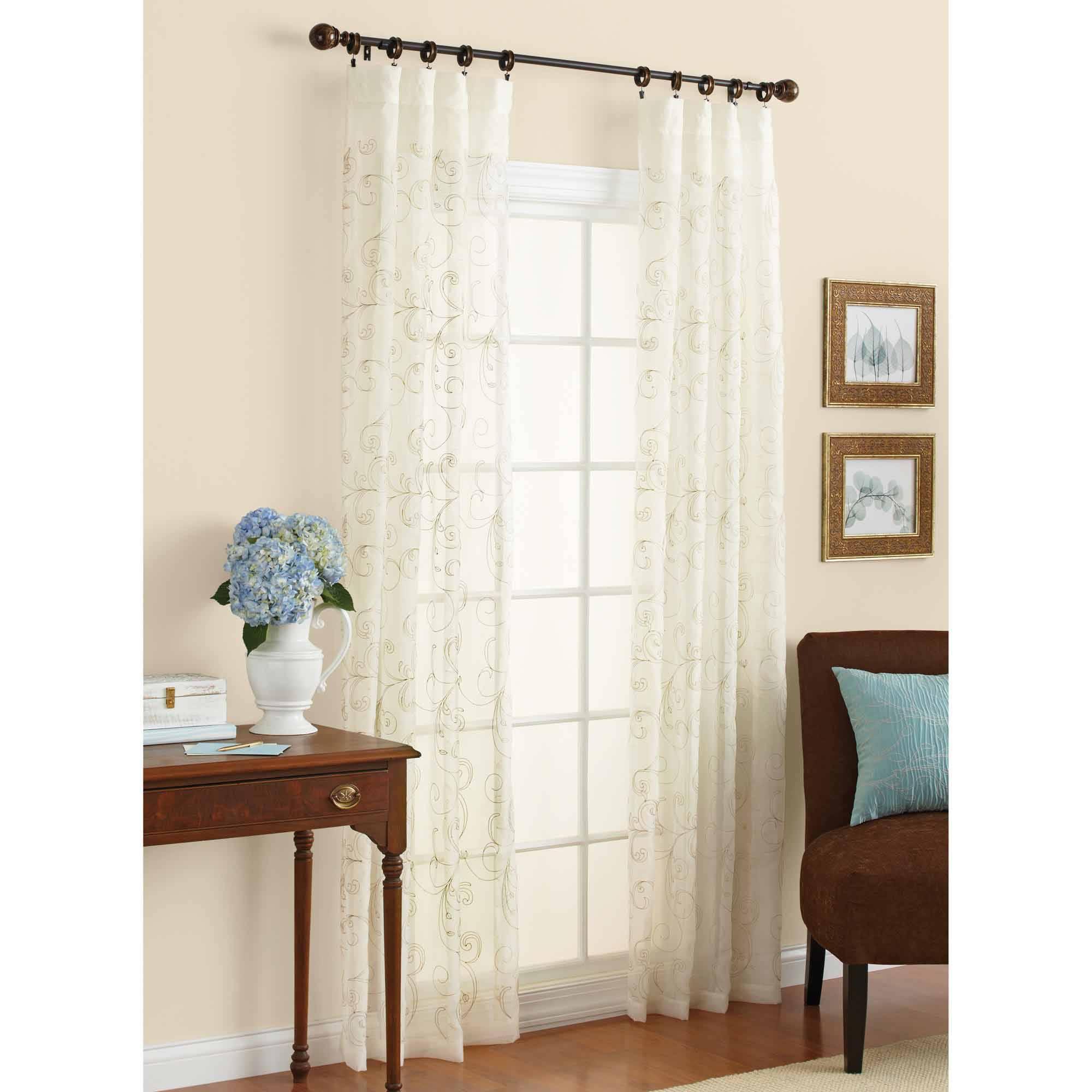 Better Homes & Gardens Embroidered Sheer Curtain Panel - Walmart.com