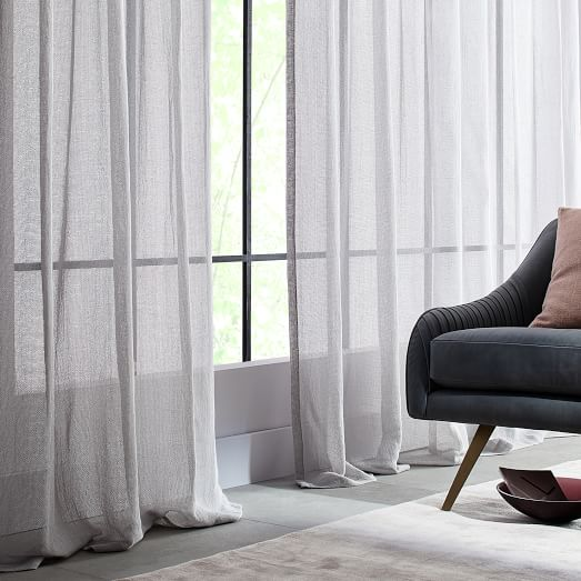 Solid Open Weave Sheer Curtains (Set of 2) - Frost Gray | west elm