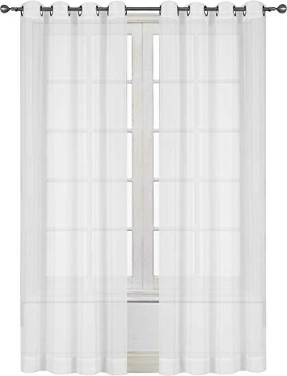 Amazon.com: Utopia Bedding Premium White Sheer Curtains - Sheer