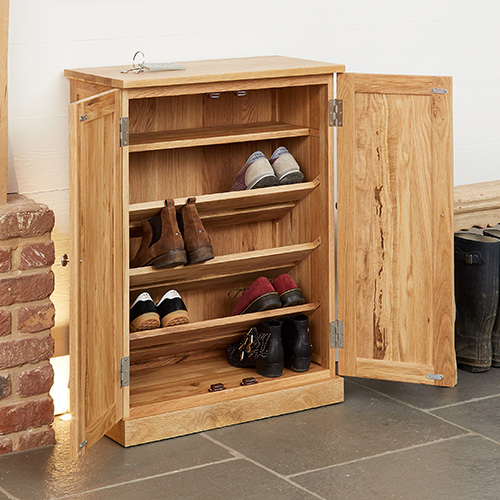 STORE | Solid Oak Shoe Storage Cupboard - Mobel