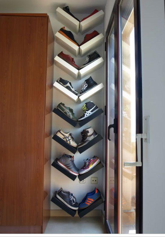 Towel Rod Hack: Easy Shoe Storage and Closet Organization Idea
