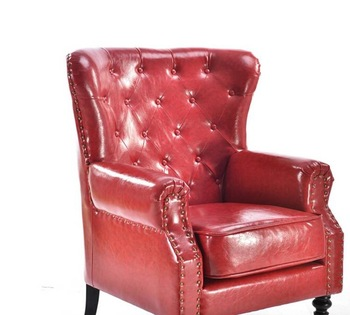 High Back Leather Armchair Single Seat Sofa