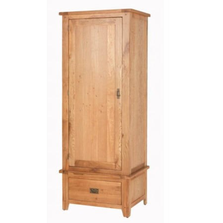 Cherbourg Rustic Oak Single Wardrobe With Drawer | Furniture123