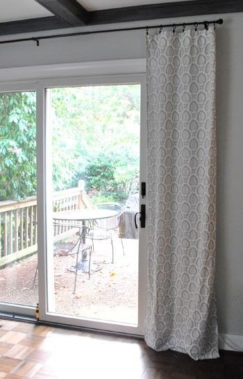 Curtains over sliding glass door Held up with curtain clips