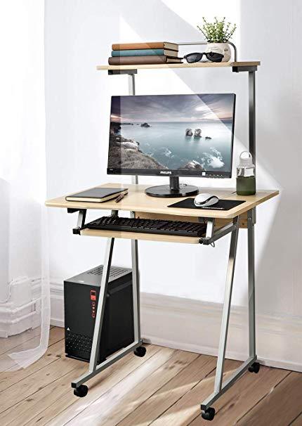 Amazon.com: Aingoo Mobile Computer Desk Small Rolling Work