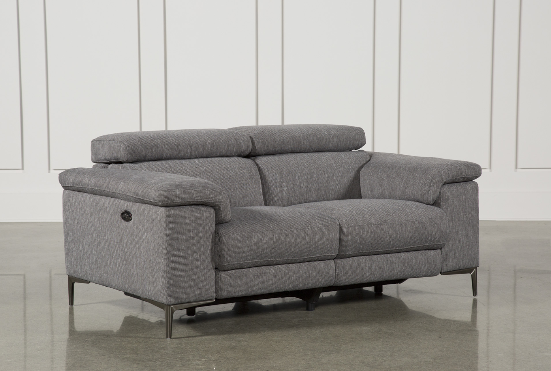 Talin Grey Power Reclining Loveseat W/Usb   Living Spaces