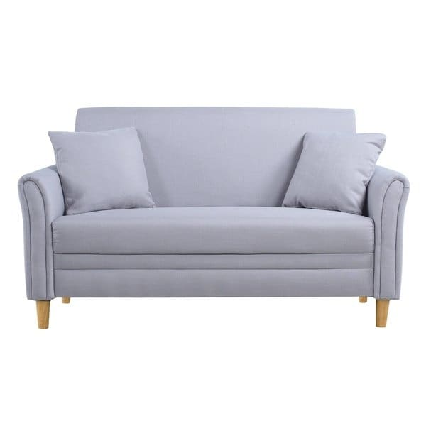 Shop Modern Two Tone Loveseat Sofa/Two Seater Linen Upholstered