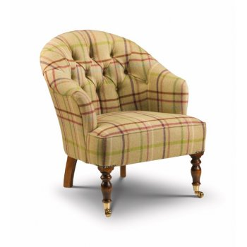 Bishopton buttoned occasional bedroom chair in Moon wool plaid fabric