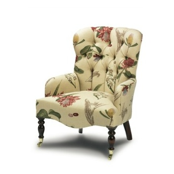 Clopton small buttoned occasional ladies chair in swaffer fabric