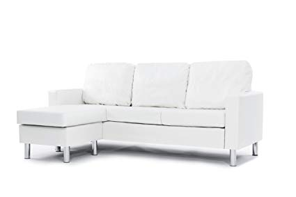 Amazon.com: Modern Bonded Leather Sectional Sofa - Small Space
