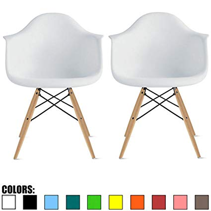 Amazon.com - 2xhome Set of 2 White Desk Chairs Mid Century Modern