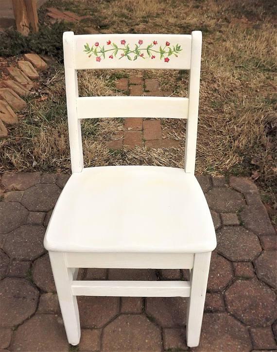 Vintage Childs Chair, Little White Chair, Childrens School Desk